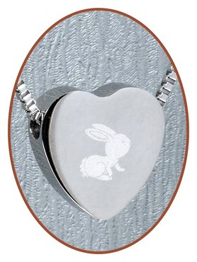 Stainless Steel 'Rabbit' Heart Cremation Pendant - B304X5