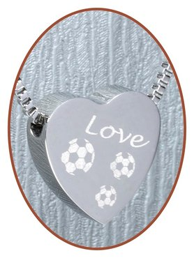 Stainless Steel 'Love Soccer' Heart Cremation Pendant - B304S