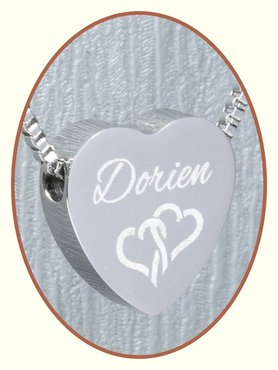 Stainless Steel 'Name' Heart Cremation Pendant - B304B