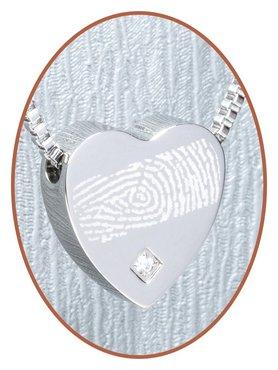 Stainless Steel 'Fingerprint' Heart Cremation Pendant - B304CZ-3
