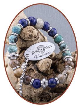 JB Memorials Petrified Wood Turquoise Lapiz Lazuli Ladies Ash Bracelet - KHA012