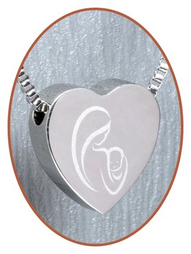 Stainless Steel 'Mother and Child' Heart Cremation Pendant - B304MK