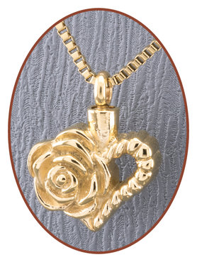 Stainless Steel 'Heart' Cremation Pendant Gold Plated - B0412G