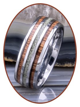 JB Memorials Natureline Wood Tungsten Cremation Ash Ring - WR006A