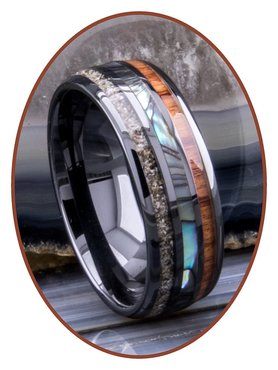 JB Memorials Natureline Wood / Abalone Shell Black Ceramic Zirconium Cremation Ash Ring - WR013