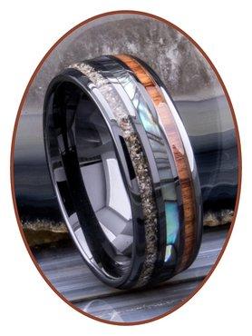 JB Memorials Natureline Wood / Abalone Shell Black Ceramic Zirconium Cremation Ash Ring - WR013