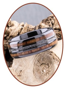 JB Memorials Natureline Wood Black Ceramic Zirconium Cremation Ash Ring - WR013A