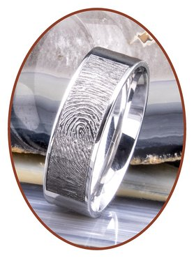 JB Memorials Stainless Steel Polished Fingerprint Remembrance Ring - TR012