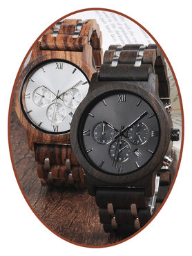 JB Memorials Nature-Line© Wooden Mens Ash Chrono Watch - HORL001