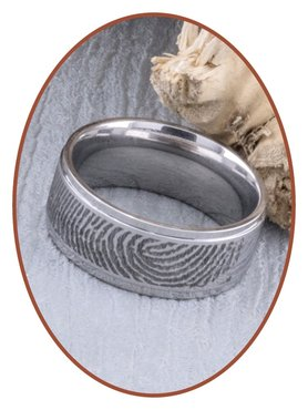 JB Memorials Stainless Steel Deep Engraved Matte Fingerprint Remembrance Ring - TR006