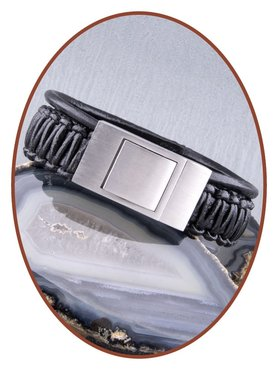 JB Memorials Stainless Steel Leather Special Cremation Ash Bracelet - ZAS013