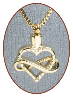 Stainless Steel 'Heart' Cremation Pendant Gold Plated - B399G