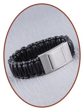 JB Memorials Stainless Steel Leather Special Cremation Ash Bracelet - ZAS013A