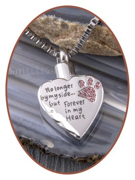 Stainless Steel 'Heart/Paw' Cremation Pendant - D056