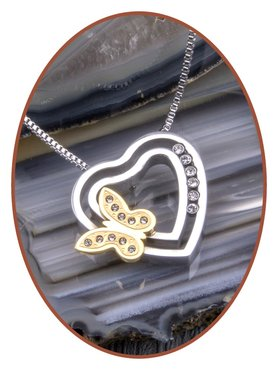Stainless Steel 'Zirconia' Butterfly Design Cremation Pendant - B415