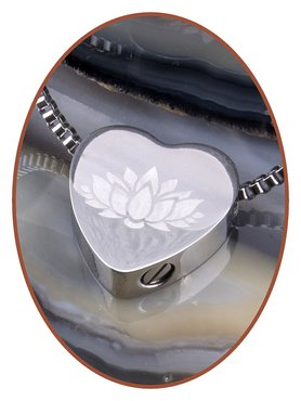 Stainless Steel 'Lotus' Heart Cremation Pendant - B304NL