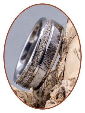 JB Memorials Natureline / Tungsten Cremation Ring with Deer Antler Inlay - WR014