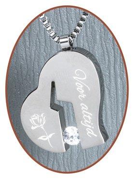 Titanium JB Memorials Premium Engraved 'Broken Heart' Cremation Pendant - T019G