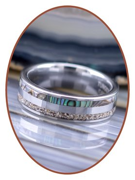 JB Memorials Natureline Abalone Shell Tungsten Cremation Ash Ring 6mm - WR008D