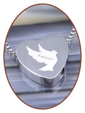 Stainless Steel 'Forever' Heart Cremation Pendant - B304M