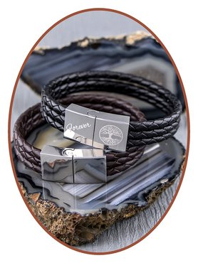 JB Memorials Stainless Steel Leather Ash Bracelet - ZAS014R