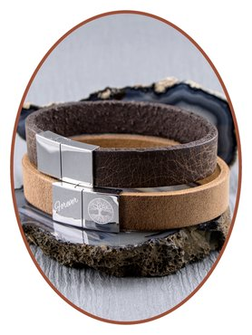 JB Memorials Stainless Steel Leather Ash Bracelet - ZAS014