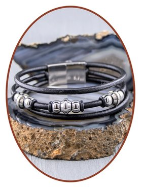JB Memorials Stainless Steel Leather Ash Bracelet - ZAS014B