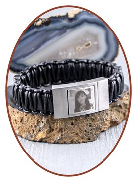 JB Memorials Stainless Steel Leather Special Photo Cremation Ash Bracelet - ZAS013F