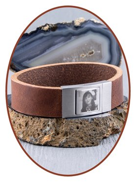 JB Memorials Stainless Steel Leather Special Photo Cremation Ash Bracelet - ZAS005F
