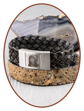 JB Memorials Stainless Steel Leather Special Photo Cremation Ash Bracelet - ZAS015F