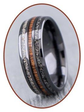 JB Memorials Natureline Ceramic Zirconium / Wood Duo Cremation Ash Ring - WR015