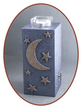 Mini Ash Urn 'Moon & Stars' with Tealight Holder - HM287MS