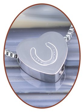 Stainless Steel 'Horseshoe' Heart Cremation Pendant - B304NE