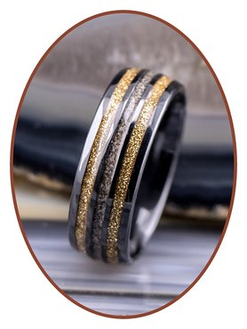 JB Memorials Black Ceramic Zirconium Cremation Ash Ring - WR013B