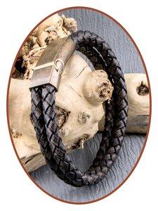 JB Memorials Edelstalen RVS Vintage Bronze Lederen As Armband - ASB024B