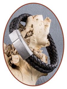 JB Memorials Edelstalen RVS Vintage Lederen As Armband - ASB024C