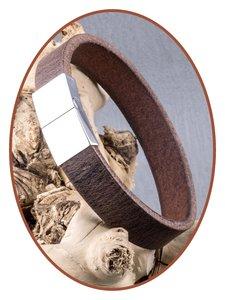 JB Memorials Edelstalen RVS / Leren Graveer (As) Armband met vulschroef - ZAS014ANT