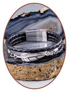 JB Memorials Edelstalen RVS / Leren Graveer (As) Armband met vulschroef - ZAS014F