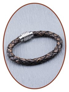 Stainless Steel Leather Mens Cremation Ash Bracelet Zma234