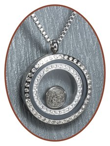 316L Stainless Steel JB Memorials Glass Medaillon Cremation Pendant - RSP112