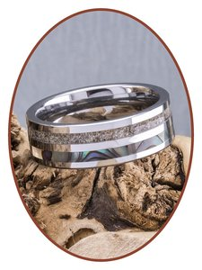 JB Memorials Natureline Abalone Shell Tungsten Cremation Ash Ring - WR008