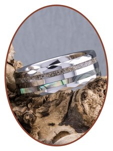 JB Memorials Natureline Abalone Shell Tungsten Facet Cremation Ash Ring - WR009