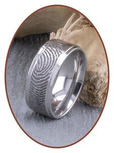 JB Memorials Edelstalen Diep Gegraveerde Gepolijste Vingerafdruk Gedenk Ring - TR005