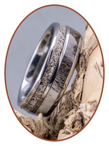 JB Memorials Exclusive Natureline  / Tungsten Ring met Herten gewei en As - WR014
