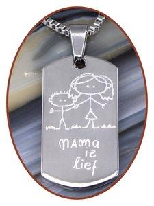 Edelstalen hanger met tekening van uw kind - PR002