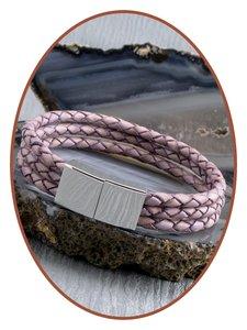 JB Memorials Edelstalen RVS / Leren (As) Armband met vulschroef - VAS002