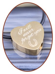 Stainless Steel 'Horseshoe' Heart Cremation Pendant Gold Plated - G304DH