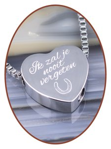 Stainless Steel 'I will never forget you' Heart Cremation Pendant - B304H