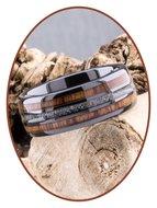 JB Memorials Exclusive Natureline Wood Black Ceramic Zirconium As Ring - WR013A