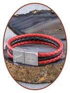 JB Memorials Edelstalen RVS / Leren Graveer (As) Armband met vulschroef - ZAS014RED